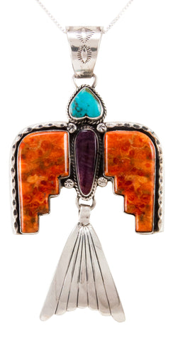 Navajo Native American Turquoise Thunderbird Pendant Necklace by Willeto SKU232986