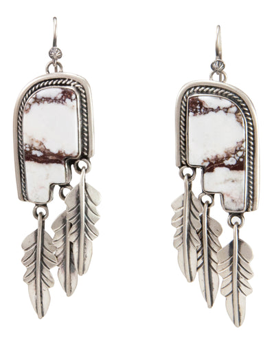 Navajo Native American Wild Horse Magnesite Earrings by Willeto SKU232987