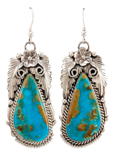 Navajo Native American Kingman Turquoise Earrings by Martinez SKU232988