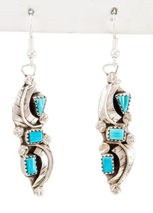 Zuni Native American Kingman Turquoise Earrings by Amy Locaspino