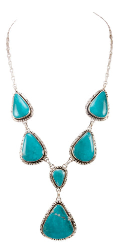 Navajo Native American Kingman Turquoise Necklace by Betta Lee SKU232994