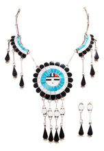 Load image into Gallery viewer, Zuni Native American Turquoise Inlay Sunface Necklace and Earrings SKU232995