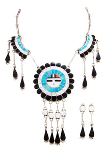 Zuni Native American Turquoise Inlay Sunface Necklace and Earrings SKU232995