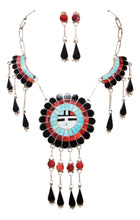 Load image into Gallery viewer, Zuni Native American Turquoise Inlay Sunface Necklace and Earrings SKU232996