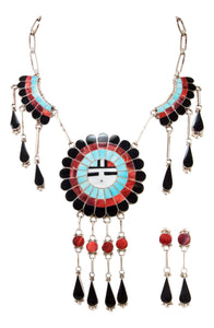 Zuni Native American Turquoise Inlay Sunface Necklace and Earrings SKU232996
