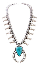Load image into Gallery viewer, Navajo Native American Kingman Turquoise Squash Blossom Necklace SKU232997
