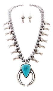 Navajo Native American Kingman Turquoise Squash Blossom Necklace SKU232997
