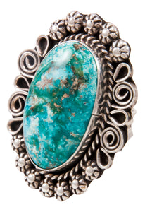 Navajo Native American Kingman Turquoise Ring Size 7 1/2 by Lee SKU232998