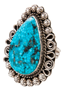 Navajo Native American Blue Ridge Turquoise Ring Size 9 3/4 by Lee SKU232999