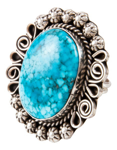 Navajo Native American Kingman Turquoise Ring Size 9 3/4 by Lee SKU233000