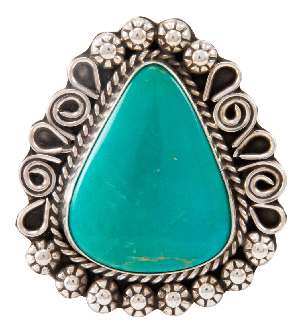 Navajo Native American Kingman Turquoise Ring Size 8 3/4 by Lee SKU233002