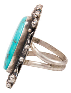 Navajo Native American Kingman Turquoise Ring Size 7 by Betta Lee SKU233003