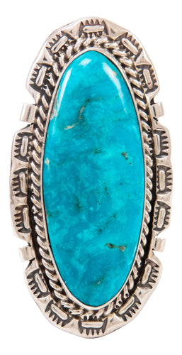 Navajo Native American Kingman Turquoise Ring Size 9 by Largo