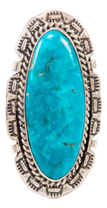 Navajo Native American Kingman Turquoise Ring Size 9 by Largo SKU233009