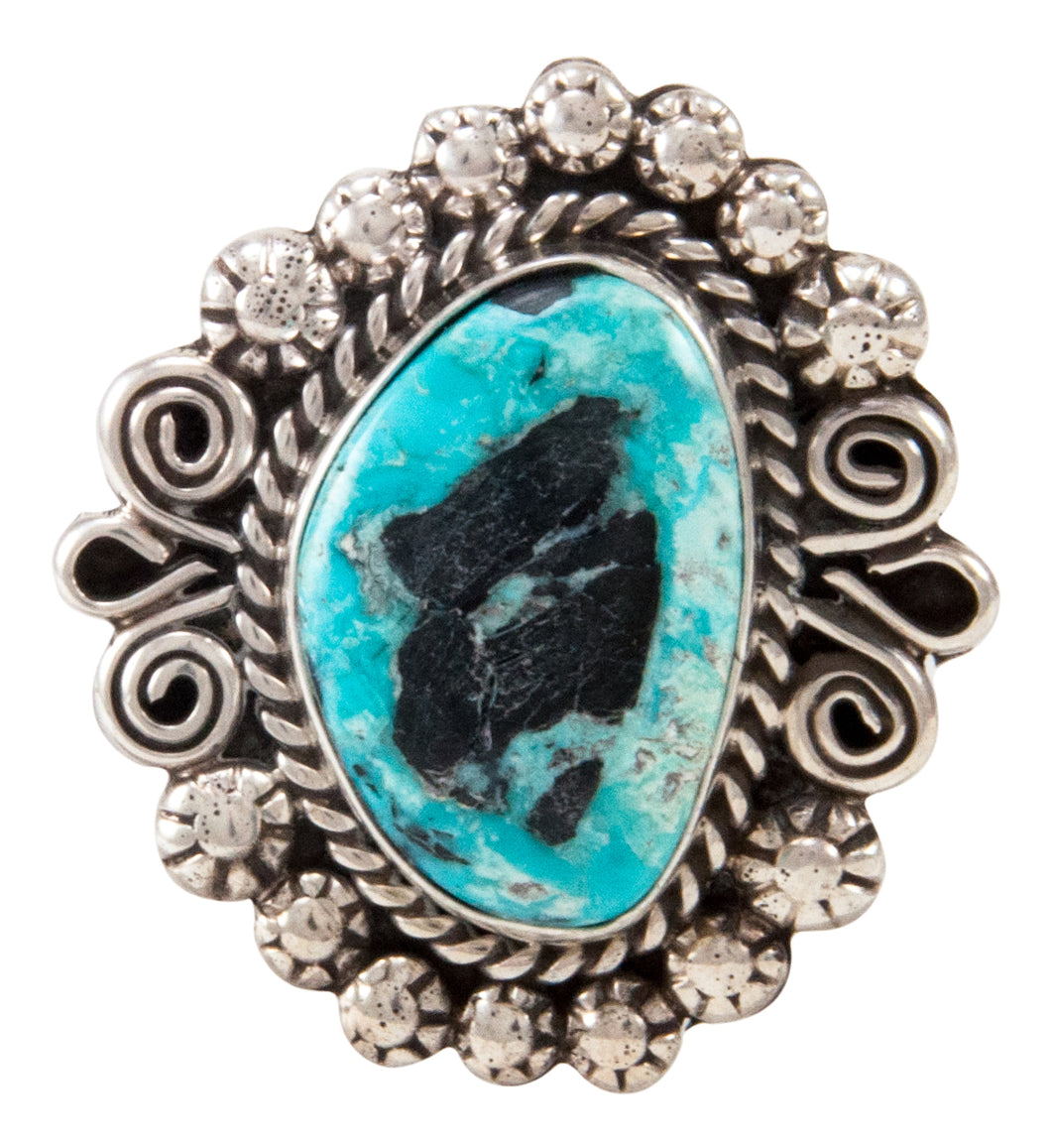Navajo Native American Blue Moon Turquoise Ring Size 8 3/4 by Johnson SKU233010