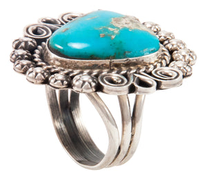 Navajo Native American Kingman Turquoise Ring Size 9 by Alice Johnson SKU233011