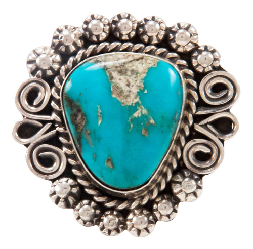 Navajo Native American Kingman Turquoise Ring Size 9 by Alice Johnson