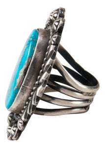 Navajo Native American Kingman Turquoise Ring Size 5 3/4 by Johnson SKU233012