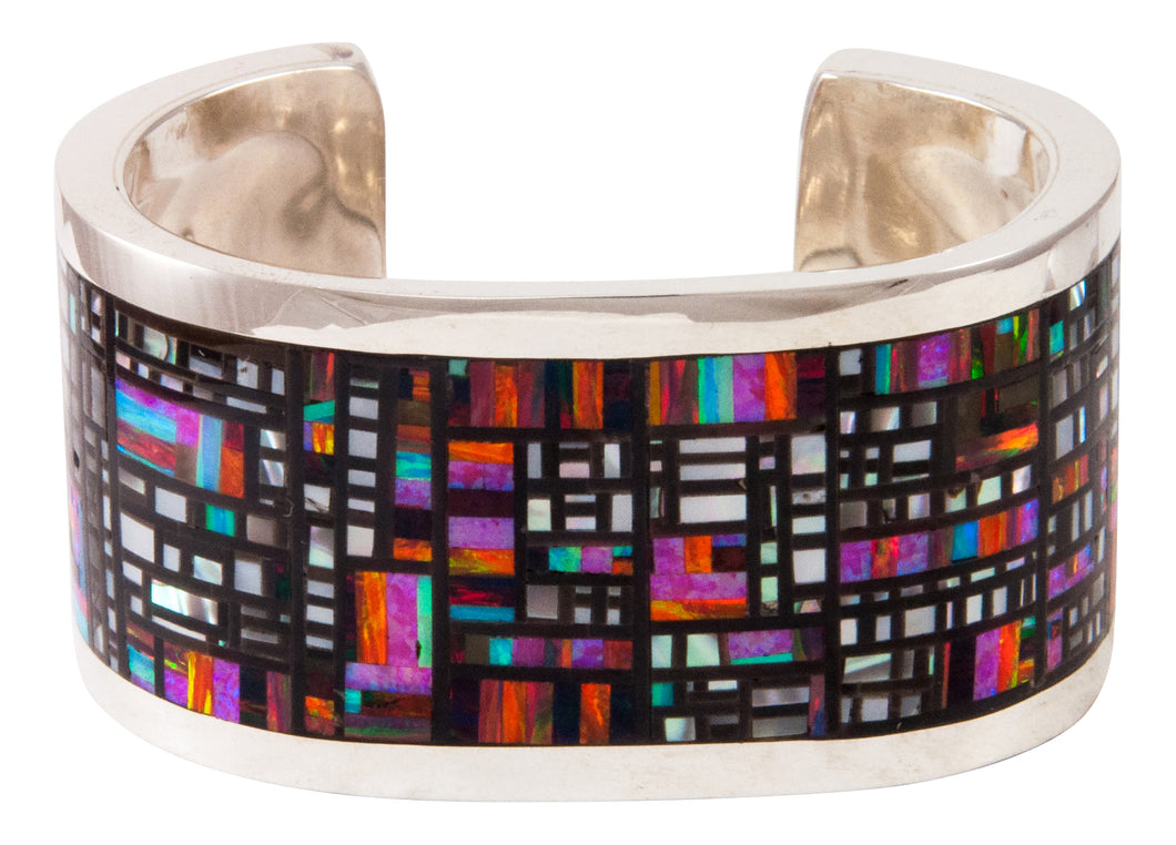 Zuni Native American Lab Opal Inlay Bracelet by Colin Coonsis SKU233017