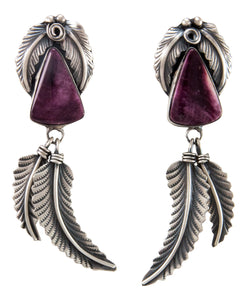 Navajo Native American Purple Shell Earrings by Benjamin Piaso SKU233019
