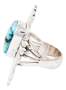 Navajo Native American Blue Gem Turquoise Ring Size 7 by Livingston