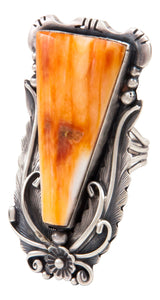 Navajo Native American Orange Shell Ring Size 5 3/4 by Juan SKU233022