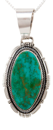 Navajo Native American Kingman Turquoise Pendant Necklace by Spencer