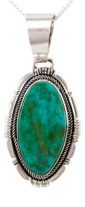 Navajo Native American Kingman Turquoise Pendant Necklace by Spencer SKU233023