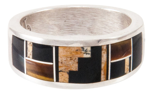 Navajo Native American Jasper and Tiger Eye Inlay Ring Size 8 3/4 SKU233026