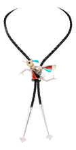 Load image into Gallery viewer, Zuni Native American Turquosie Inlay Roadrunner Bolo Tie by Edakkie SKU233030