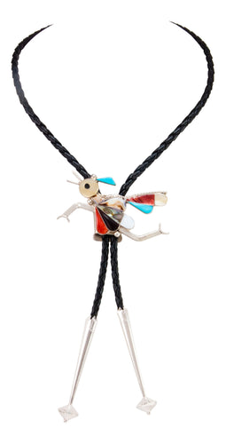 Zuni Native American Turquosie Inlay Roadrunner Bolo Tie by Edakkie SKU233030