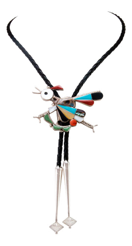 Zuni Native American Turquosie Inlay Roadrunner Bolo Tie by Edakkie SKU233031
