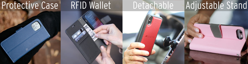 safesleeve detachable anti-radiation, emf and RFID blocking iphone case