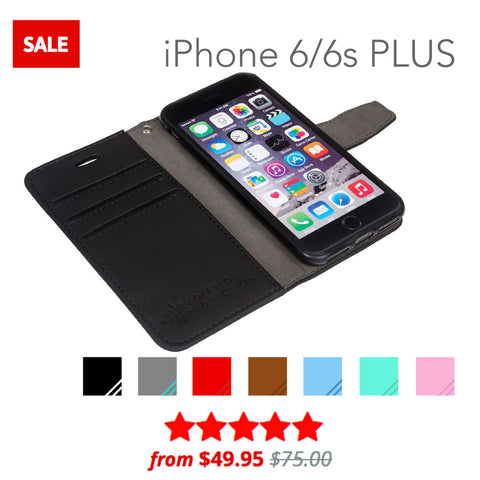 SafeSleeve anti-radiation and rfid blocking wallet case for iphone 6/6s PLUS