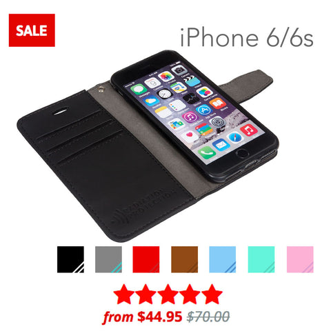 SafeSleeve anti-radiation and rfid blocking wallet case for iphone 6/6s
