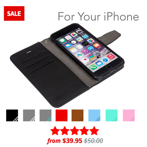 safesleeve anti-radiation and rfid blocking wallet case for iphone collection