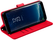 red Samsung Galaxy S9 anti-radiation and RFID blocking wallet case with stand