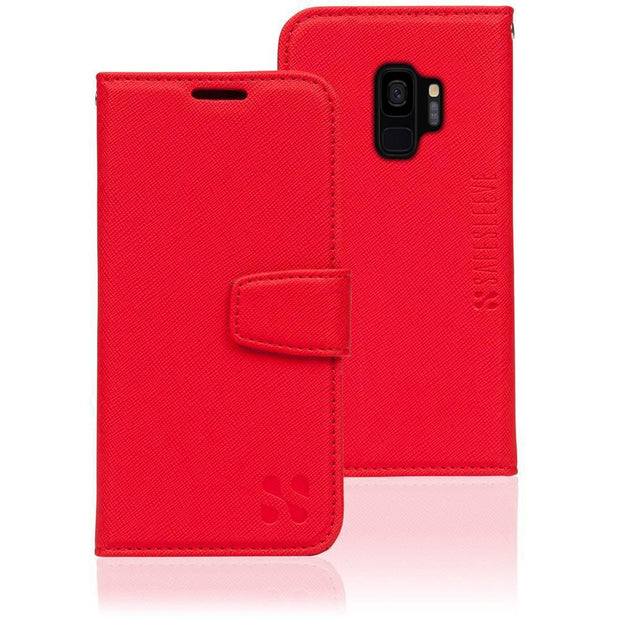 red Samsung Galaxy S9 RFID blocking wallet