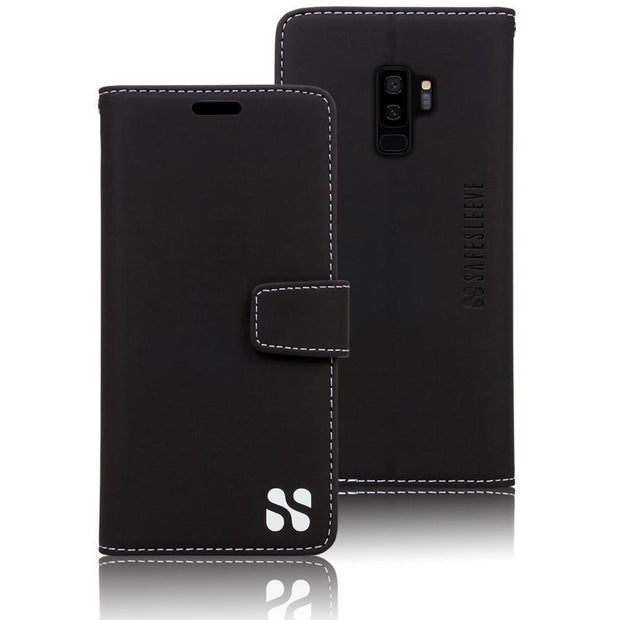 black anti-radiation and RFID blocking wallet case for the Samsung Galaxy S9 Plus