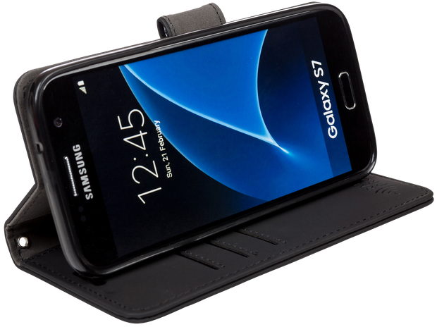 Samsung Galaxy S5, S6 edge, S7 edge, Note 5, J3, and J7 RFID blocking wallet and turns into a stand