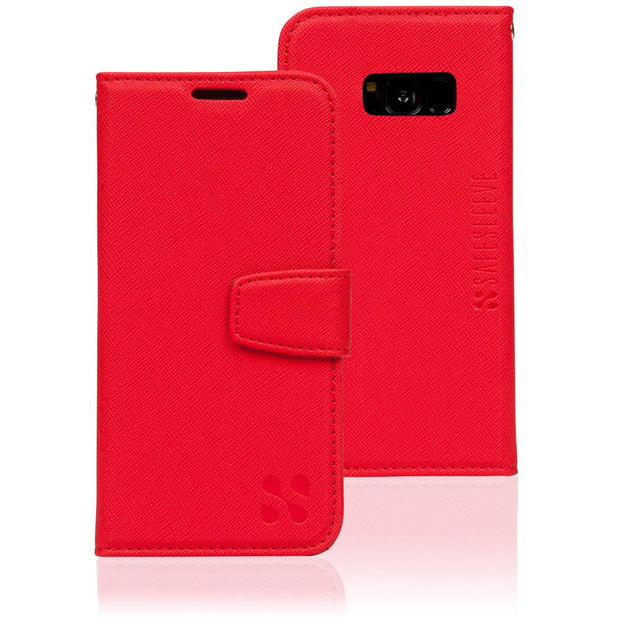 red Samsung Galaxy S8 RFID blocking wallet