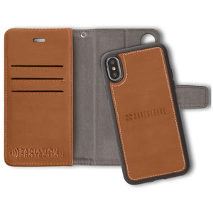 Brown Detachable iPhone Xs Max RFID blocking wallet