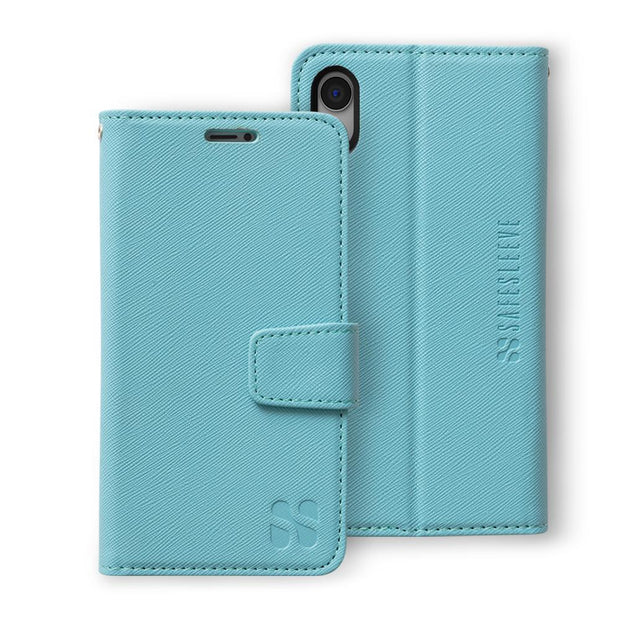 turquoise iPhone XR (10 R) anti-radiation and RFID blocking wallet case