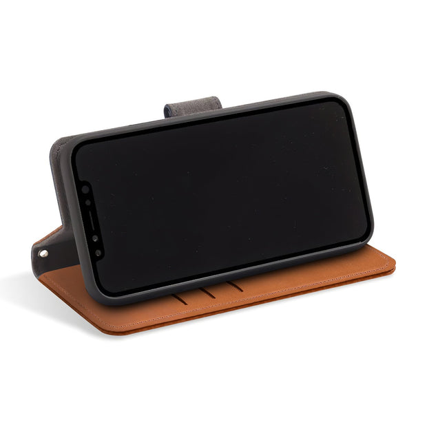 Brown RFID blocking iPhone X/Xs wallet with convertible stand