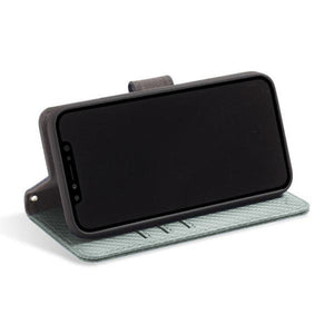 Grey iPhone 11 Pro RFID blocking wallet with convertible stand