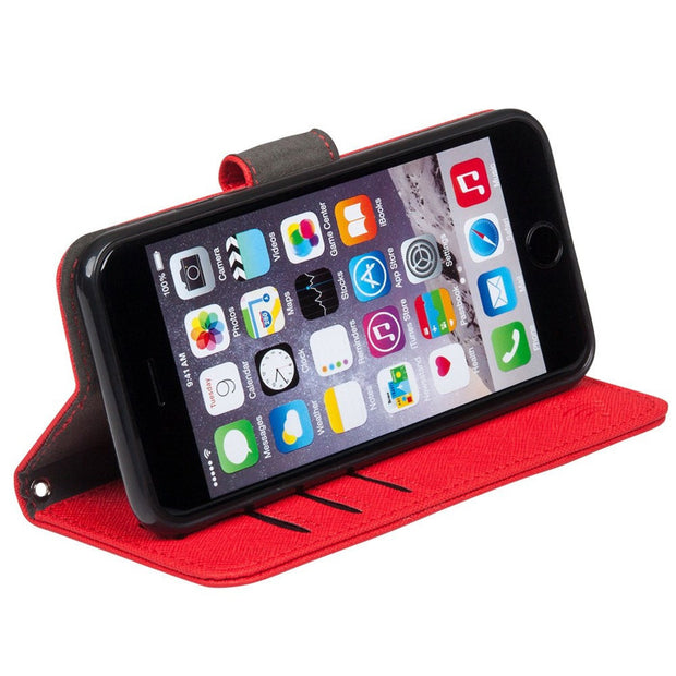 red iPhone 6 Plus, 7 Plus & 8 Plus RFID blocking wallet turns into stand