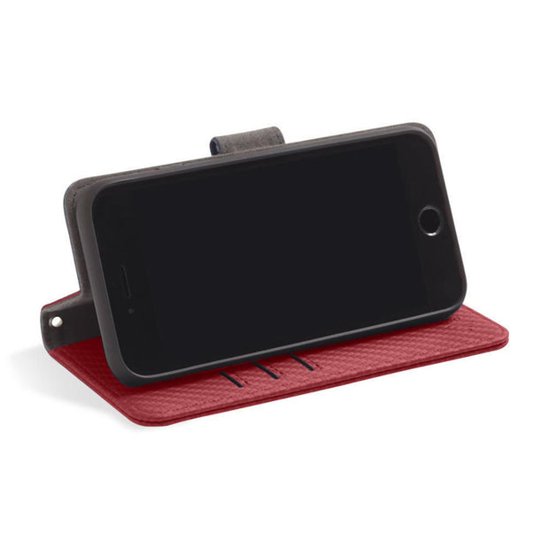 Red RFID blocking wallet with convertible stand