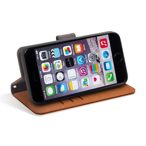 light brown iPhone 6/6s, 7 & 8 RFID blocking wallet with stand
