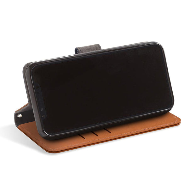 Brown RFID blocking wallet with stand