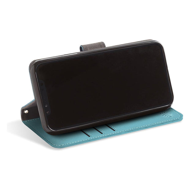 turquoise RFID blocking wallet turns into a stand